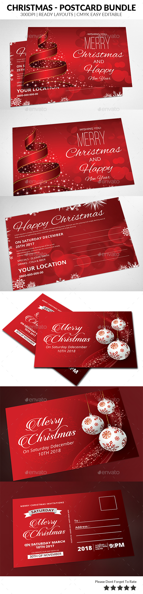 Christmas Postcard Bundle Templates - Events Flyers