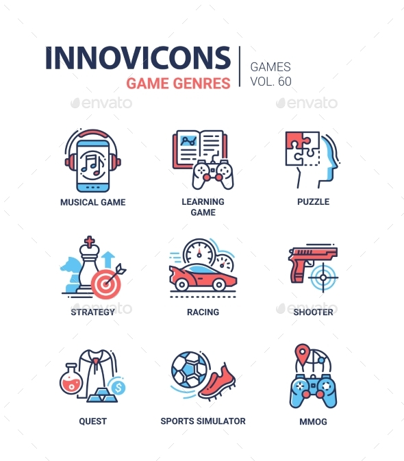 GraphicRiver Game Genres Line Design Icons Set 20980744