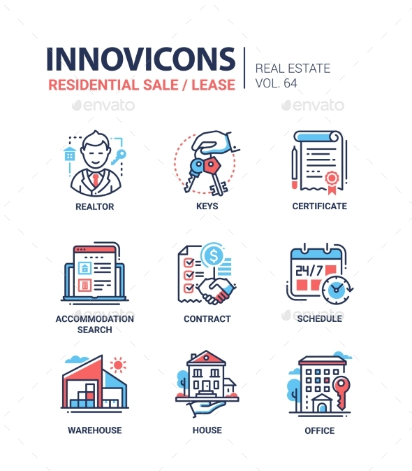 GraphicRiver Residential Sale and Lease Line Design Icons Set 20980748