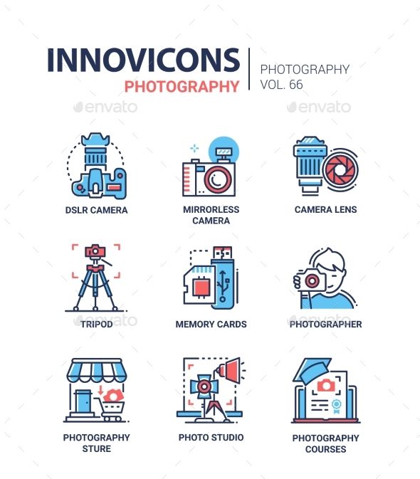 GraphicRiver Photography Line Design Icons Set 20980756