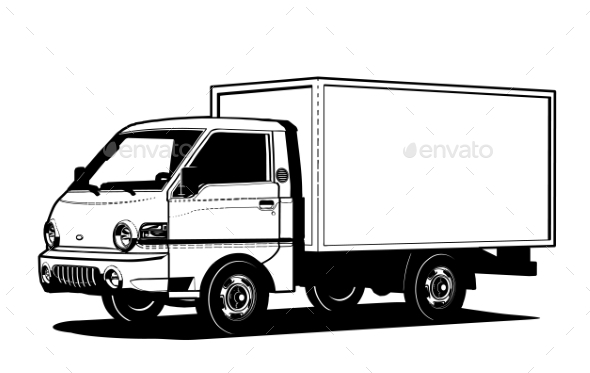 vector truck outline template isolated on white by mechanik