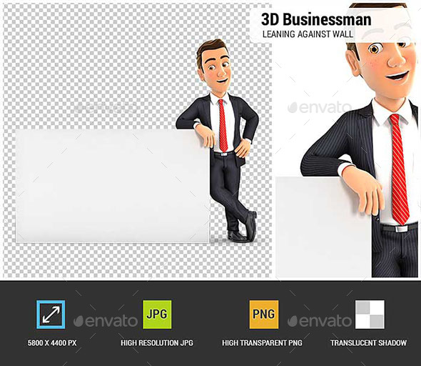 3D Businessman Leaning Against White Wall - Characters 3D Renders