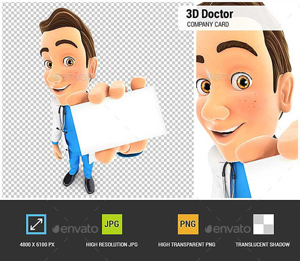 GraphicRiver 3D Doctor Holding Company Card 20981037