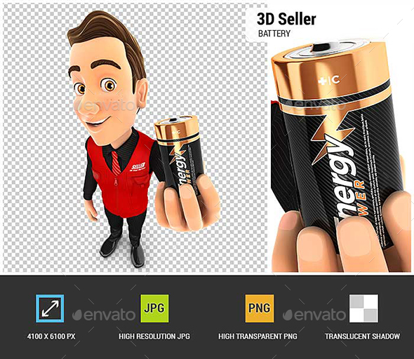 3D Seller Holding Battery - Characters 3D Renders