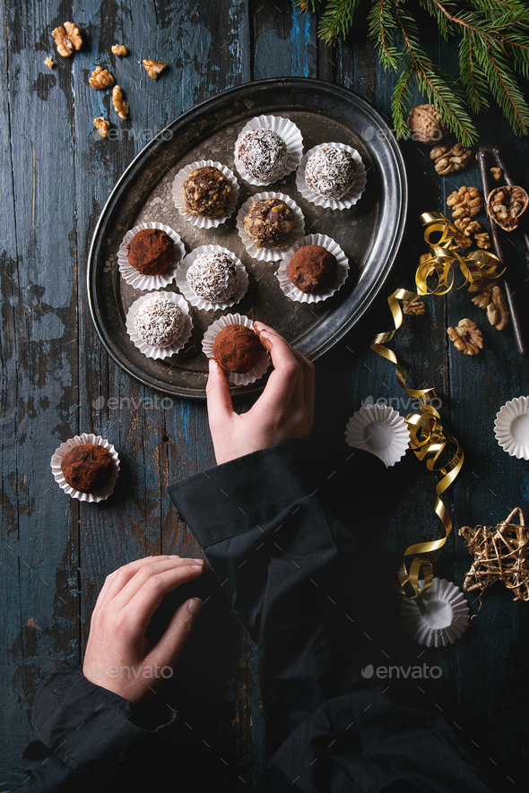 Christmas chocolate truffles - Stock Photo - Images