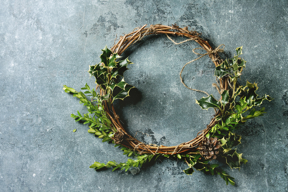 Handmade Christmas wreath - Stock Photo - Images