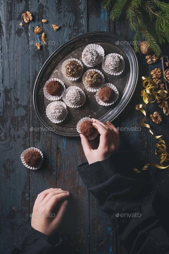 Christmas chocolate truffles - Stock Photo - Images
