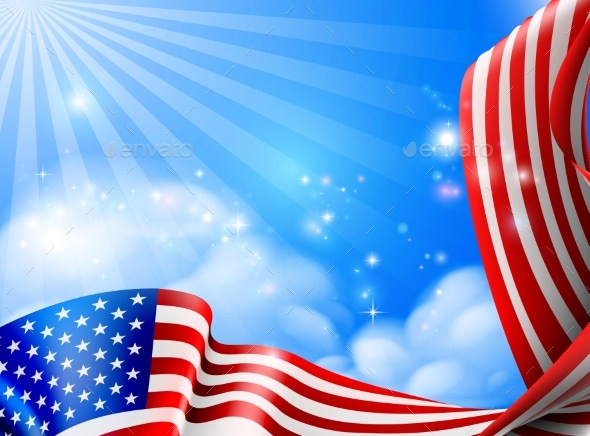 GraphicRiver American Flag Sky Background Design 20981251