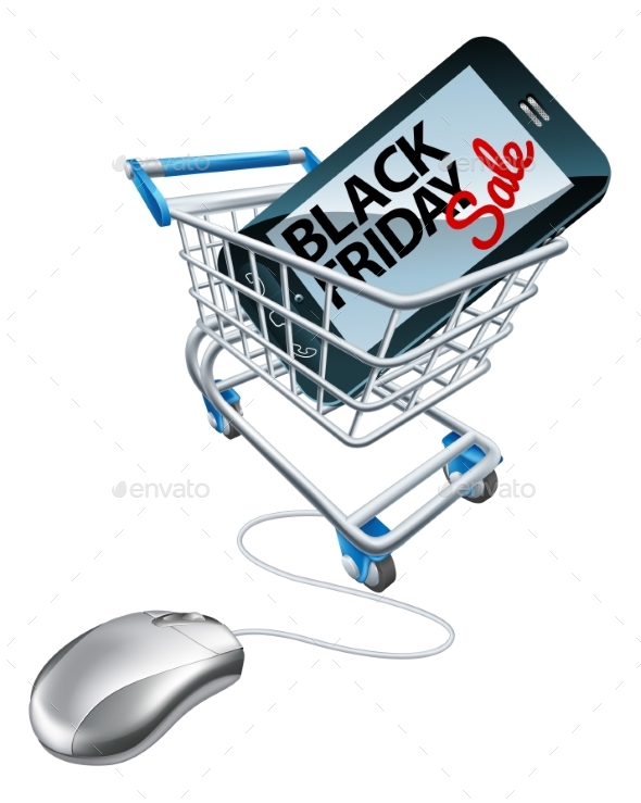 Black Friday Sale Phone Mouse Trolley Sign - Miscellaneous Vectors