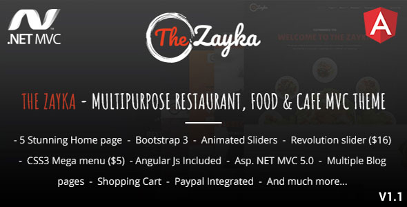 The Zayka – Multipurpose Restaurant, Food & Cafe MVC Theme Best Scripts