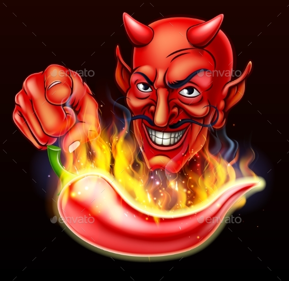 GraphicRiver Flaming Hot Pepper and Pointing Devil 20981286