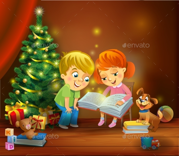 GraphicRiver Christmas Miracle Kids Reading a Book 20981329