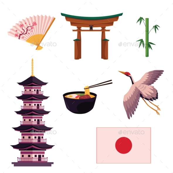 Collection Of Japanese Culture Symbols By Sabelskaya Graphicriver