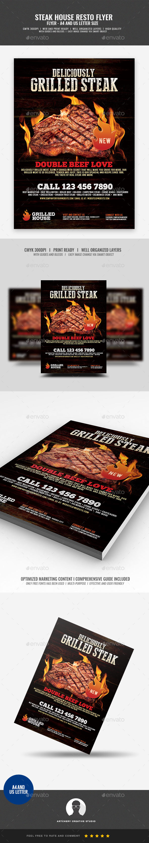 Steakhouse New Product Promotion - Restaurant Flyers