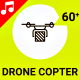 Drone Copter Helicopter Fly Technology Icon Set - Line Motion Graphics - VideoHive Item for Sale