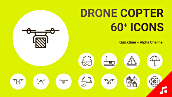 Drone Copter Helicopter Fly Technology Icon Set