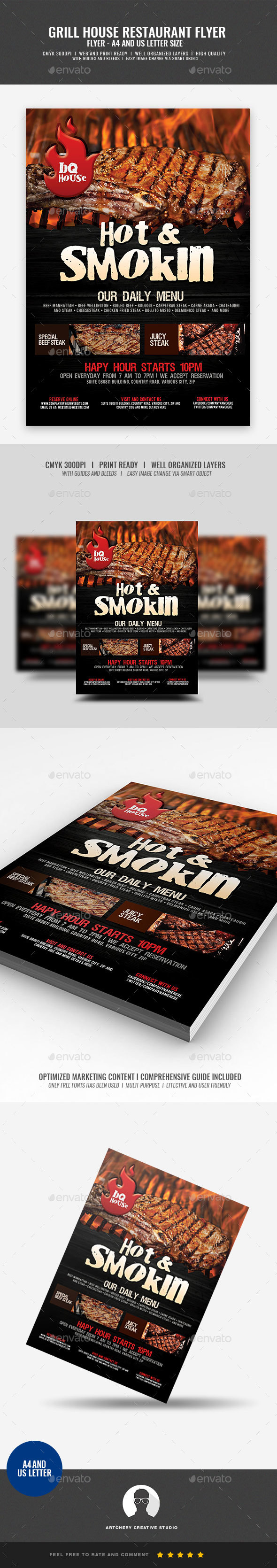 Steakhouse Grill Restaurant  Flyer - Restaurant Flyers