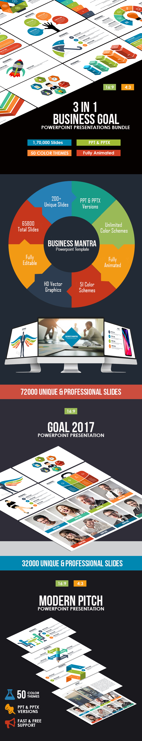 GraphicRiver 3 In 1 Business Goal Powerpoint Bundle 20981603
