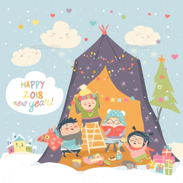 GraphicRiver Happy Children Celebrating Christmas 20981643