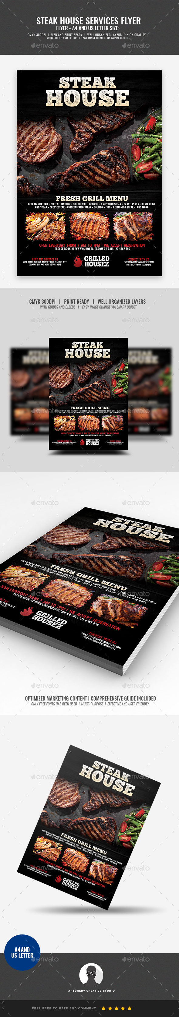 Steakhouse and Grill Flyer - Restaurant Flyers