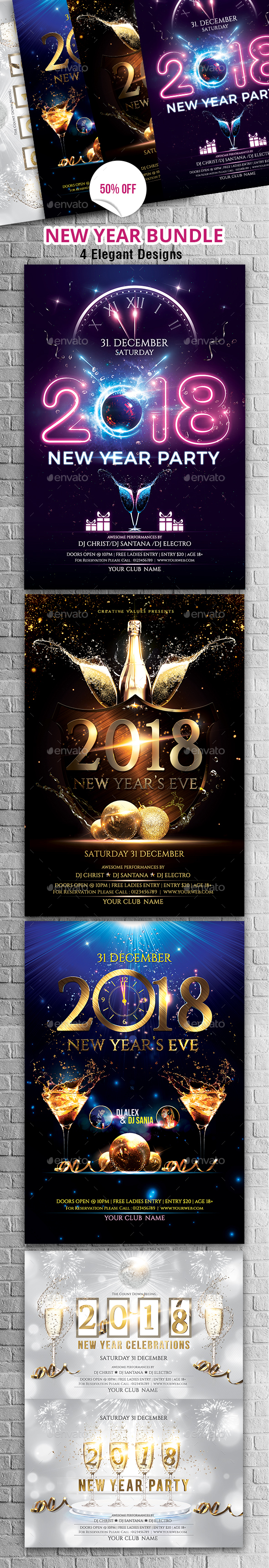 GraphicRiver New Year Party Flyer Bundle 20981757