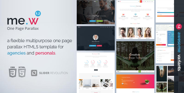 Mew - One Page Parallax - Creative Site Templates