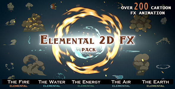 Videohive Elemental 2D FX pack [200 elements] V4 9673890