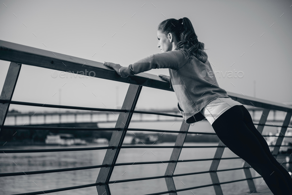 Streching on river side - Stock Photo - Images