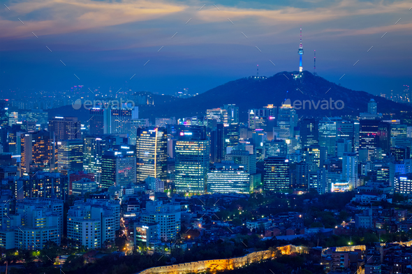 Seoul skyline in the night, South Korea. - Stock Photo - Images