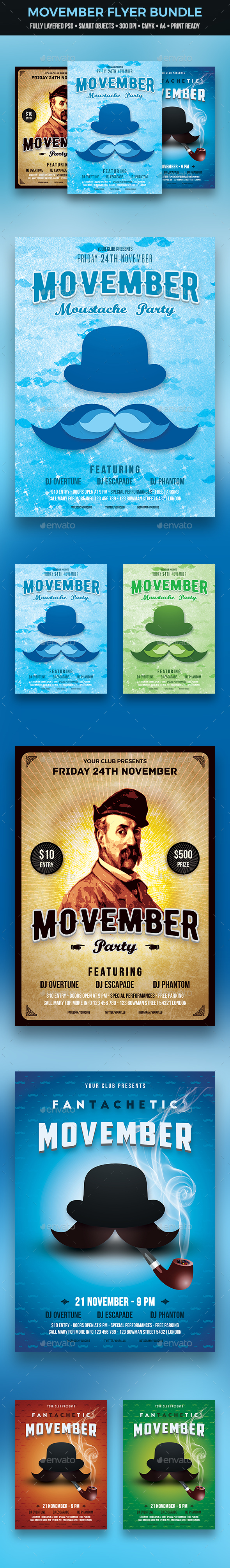 Movember Flyer Bundle - Clubs & Parties Events