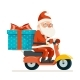 Gift Box Santa Claus Delivery Courier Scooter
