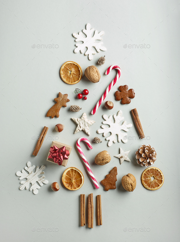 Christmas tree of various decorations - Stock Photo - Images
