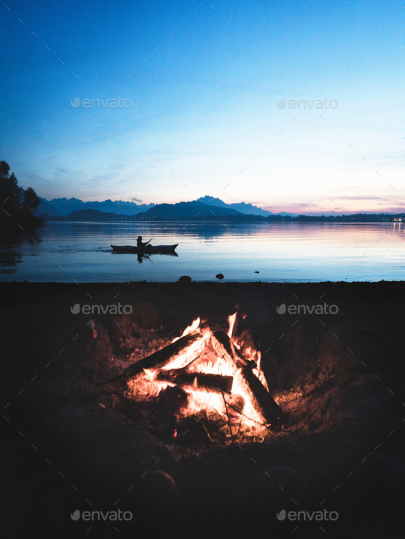Bonfire at the Lake - Stock Photo - Images