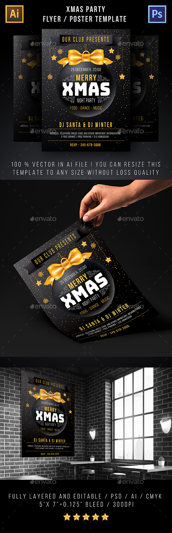 Template For Xmas Party Flyer, Poster Or Invitation - Clubs & Parties Events