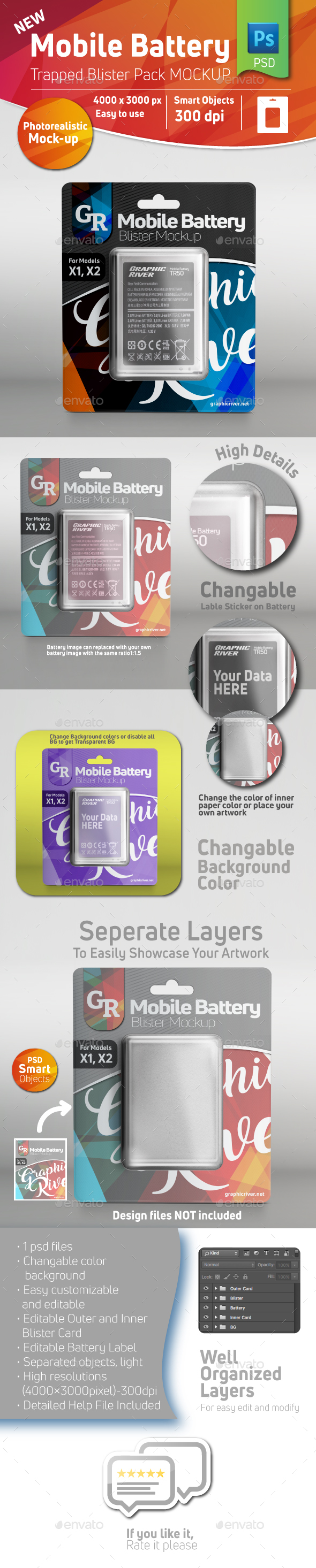 GraphicRiver Mobile Battery Trapped Blister Pack Mockup With Battery Inside 20982253