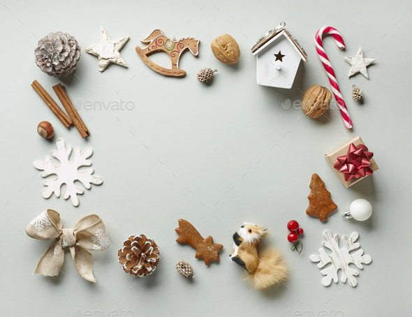 Frame of Christmas decorations - Stock Photo - Images