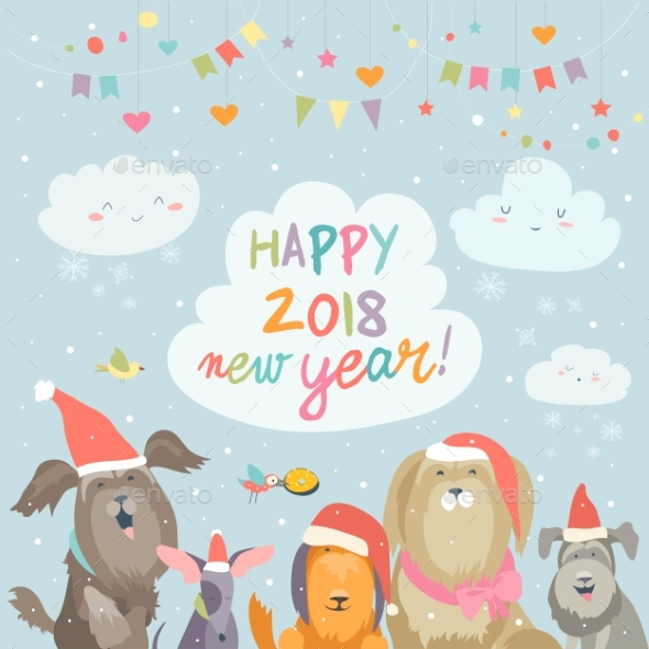 GraphicRiver Happy 2018 New Year Card 20982435