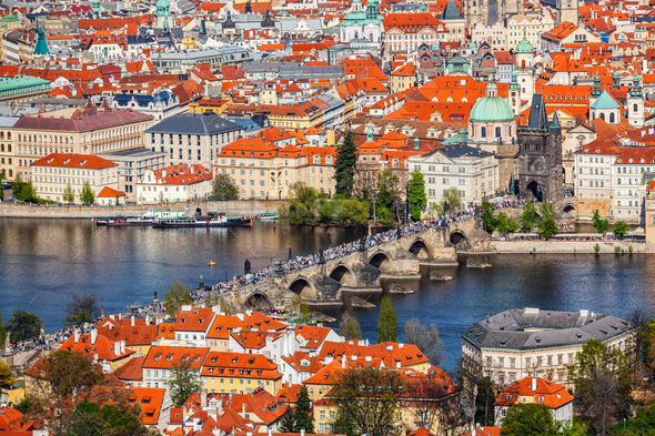 View of Charles Bridge over Vltava river and Old city from Petri - Stock Photo - Images