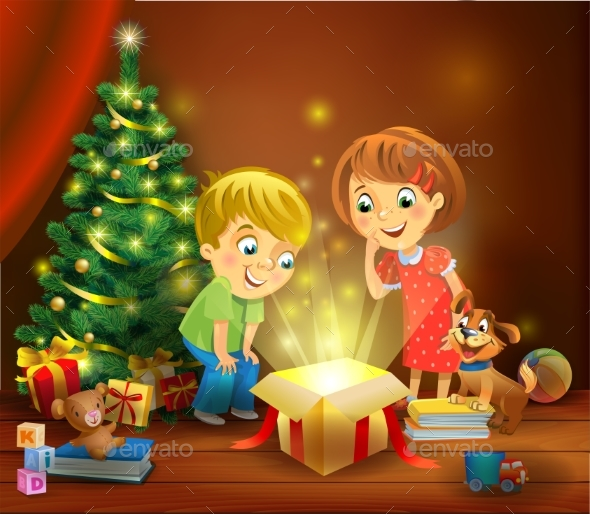 GraphicRiver Christmas Miracle Kids Opening a Magic Gift 20982503