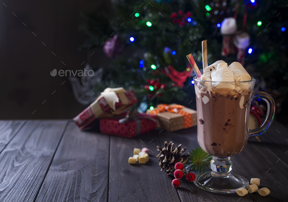 Hot chocolate with marshmallows - Stock Photo - Images