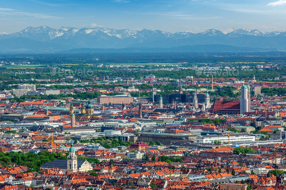 Aerial view of Munich. Munich, Bavaria, Germany - Stock Photo - Images