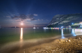 Night landscape at the seashore with lunar path. Seascape - PhotoDune Item for Sale