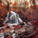 Beautiful waterfall with trees, red leaves, rocks and stones in - PhotoDune Item for Sale