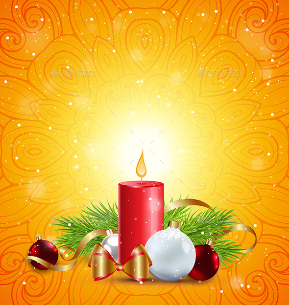 GraphicRiver Christmas Greeting Card with Red Candle 20983270