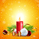 Christmas Greeting Card with Red Candle - GraphicRiver Item for Sale