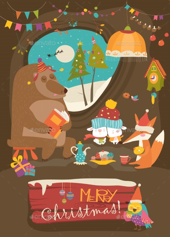 GraphicRiver Animals Celebrating Christmas in Den 20983393