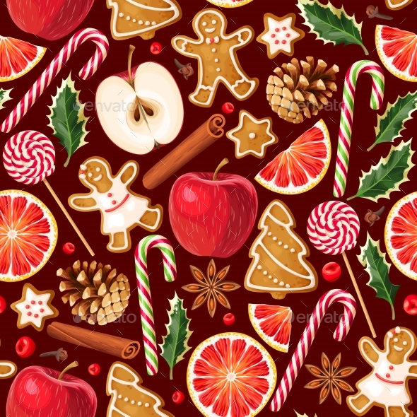 GraphicRiver Winter Seamless Patterns with Gingerbread Cookies 20983504