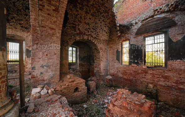 Ruins of an abandoned brick orthodox church - Stock Photo - Images