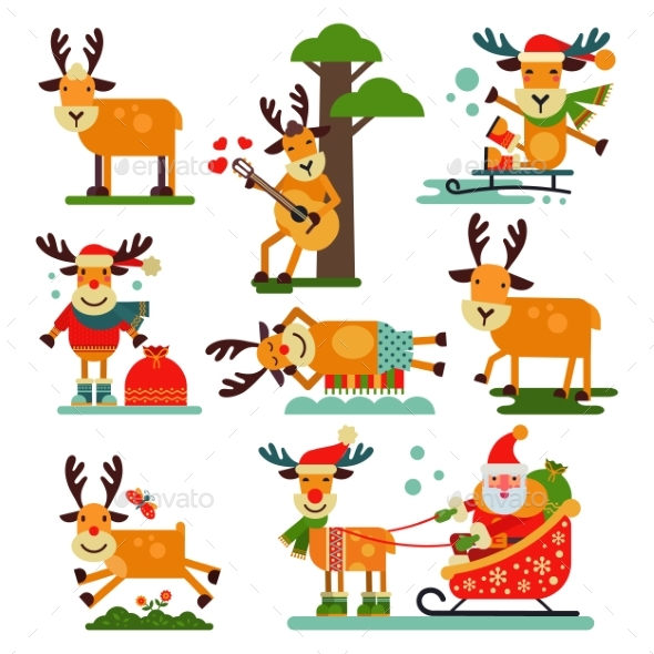 Christmas Reindeer Santa Claus Character - Christmas Seasons/Holidays