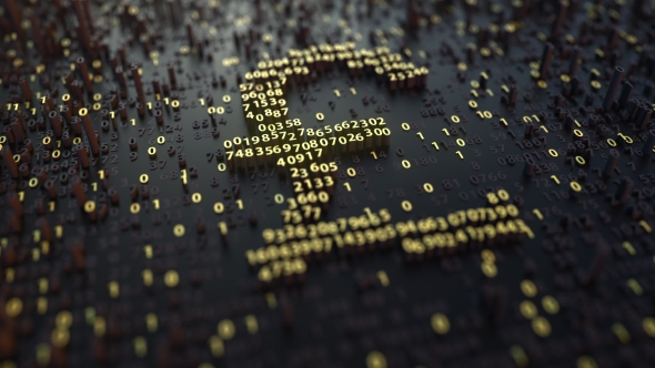 British Pound Gbp Symbol Made Of Golden Numbers By Moovstock Videohive